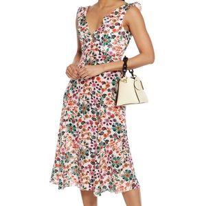 SALONI 100% Silk Holly Ruffle Crepe De Chine Dress